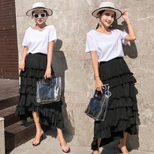 风轩衣度 套装/套裙百搭荷叶边简约都市韩版纯色气质中长款2018年夏季 2505-865