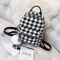 双肩包女新款女包迷你格子书包三用多功能呢子韩版可爱小背包