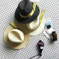 儿童帽子金色字母织带草帽男女儿童潮帽大沿遮阳帽沙滩草帽