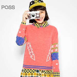 PASS原创潮牌冬装 短款绣花时尚长袖圆领加厚撞色百搭毛衣女6540423028