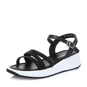 BASTO/百思图2018夏季专柜同款牛皮革/人造革水钻坡跟休闲女凉鞋DB613BL8
