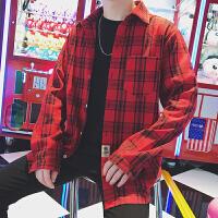 格子衬衫男士衬衣长袖韩版宽松帅气春季休闲外套学生衣服 红色 M