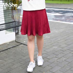 MsShe大码女装2017新款秋装麂皮绒百褶裙松紧腰短裙M1730047