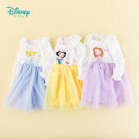 【129元3件】迪士尼Disney童装 女童网纱拼接长袖连衣裙秋季新品女宝Q萌公主裙193Q692