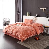 当当优品暖绒四件套 抗静电加厚细密保暖床品 双人1.5米床 桔橙