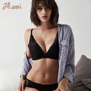 顶瓜瓜文胸女V型软钢圈薄款胸罩蕾丝性感女士内衣2018新款