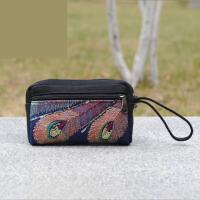 2018新款民族风刺绣花亮片包女士小包女包手机包手挽手拿包零钱包