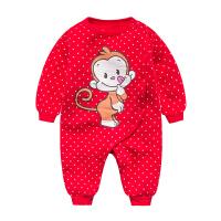 女婴儿连体衣服0岁3个月6宝宝1新生儿冬装秋冬季加厚保暖内衣睡衣