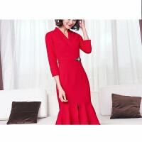 红色结婚礼晚礼服裙敬酒服新娘女宴会会主持人高贵小礼服连衣裙 七分袖 红色