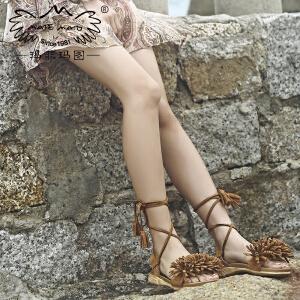 玛菲玛图凉鞋2018新款女夏磨砂牛皮低跟露趾交叉绑带民族风花簇流苏沙滩鞋M19810881G33
