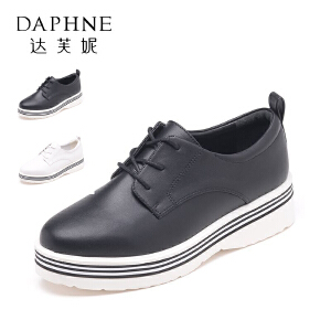 Daphne/达芙妮秋 时尚简约系带英伦风女单鞋