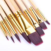 油画笔丙烯画笔水粉笔水彩画笔尼龙笔套装批发儿童颜料学生初学者成人手绘绘画专业美术笔8支装画画套装