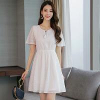 2018春夏装韩版松紧收腰短袖裙子夏季新款女装蕾丝连衣裙潮 白色