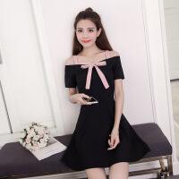 一字肩连衣裙学生韩版女夏季小个子0cm高腰气质淑女短款a字裙子 黑色 S