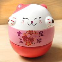 可爱萌物猫不倒翁创意家居摆设陶瓷开业摆件创意生日结婚礼物