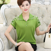 中老年女装夏装妈妈装大码翻领短袖T恤中年妇女针织衫宽松上衣薄 33 绿色