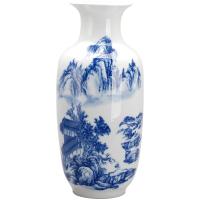 景德镇陶瓷 釉下彩青花瓶 现代时尚家居摆设 陶瓷工艺品摆件
