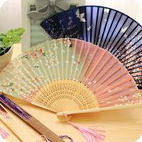 包邮日式礼物樱花风舞蹈竹木古风小折扇女士可爱古典折叠扇子1把装