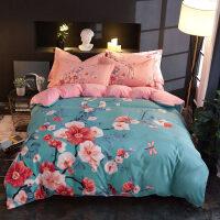 A面磨毛B面水晶绒四件套冬季加厚法兰绒套件珊瑚绒1.8m床被套床单