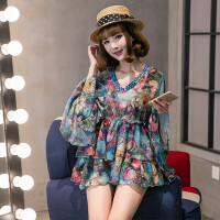 夏季新款韩版宽松大码时尚花色防晒超仙喇叭袖雪纺衫打底衫女上衣