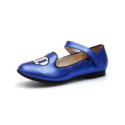 比比我童鞋2017新款女童单鞋秋季中童公主鞋平底学生鞋绣花+韩版小皮鞋【每满100减50】
