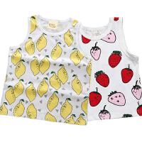 ins儿童宝宝纯棉无袖背心男童女童夏薄婴儿童装多款水果图案