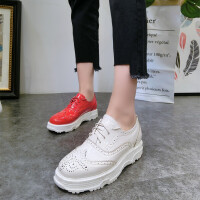 18春季新款布洛克镂空厚底松糕坡跟系带小白鞋休闲鞋单鞋板鞋女鞋