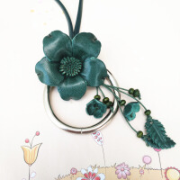 e波西米亚毛衣链长款民族风百搭衣服配饰品项链复古皮质花朵吊坠女 蓝绿色 圆圈