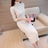 女装麻花高领毛衣长款毛衣裙过膝复古厚款修身冬季针织打底连衣裙