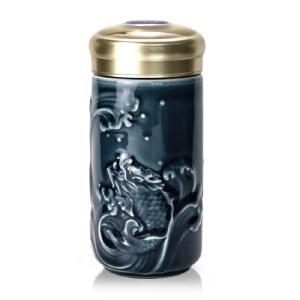 乾唐轩活瓷杯小鱼跃龙门随身杯单层 办公水杯干唐轩 活瓷随身杯