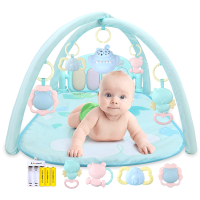 婴儿玩具脚踏钢琴健身架器宝宝0-1岁6-12个月音乐琴女孩男孩 抖音 【电池】65内容 粉