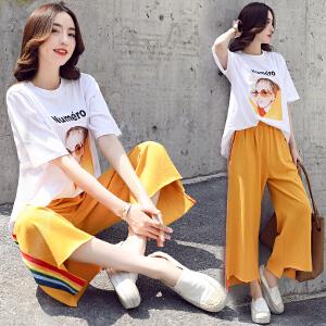2018年夏韩版潮流时尚印花图案T恤休闲修身显瘦百搭阔腿裤两件套
