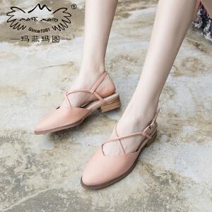 玛菲玛图新款凉鞋女夏平底学生一字式扣带罗马鞋方跟后绊带休闲包头鞋M1981201812T7