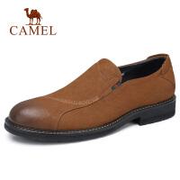 camel骆驼男鞋 秋季新款男士商务休闲皮鞋牛皮复古潮奢真皮皮鞋