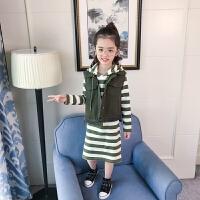 女中大童套装洋气秋装韩版两件套裙条纹马甲童装时尚潮衣