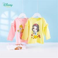 迪士尼Disney童装 女童纯棉T恤公主卡通印花上衣春季新品儿童圆领长袖