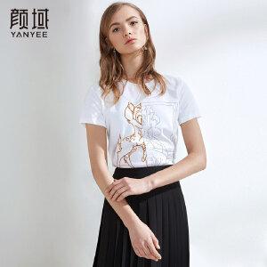 颜域品牌女装2018夏装新款白色t恤女短袖个性印花圆领体恤上衣潮
