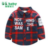 歌歌宝贝  男女童长袖秋冬加绒加厚衬衫1-3岁宝宝保暖上衣单件新款