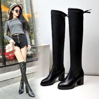 WARORWAR新品YN13-801B冬季韩版粗高高跟矮个子女过膝长靴