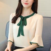 短袖女2018新款韩版夏装喇叭袖雪纺上衣夏季衣服女时尚百搭T恤女