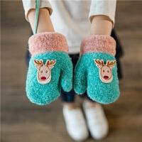 儿童手套冬季宝宝连指手套小孩加绒小鹿手套男女童保暖珊瑚绒手套 长14cm(约2-6岁左右)