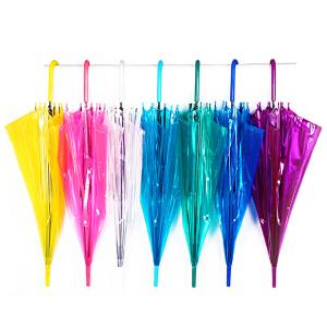 彩色透明雨伞广告伞直杆自动雨伞长柄伞雨伞定制logo