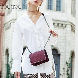 toutou2017夏季新款小包包女迷你包韩版个性时尚铆钉小方包单肩包斜挎包