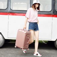 行李箱拉杆箱女韩版小清新个性可爱公主粉铝框万向轮大学生旅行箱