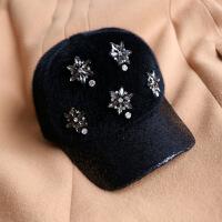 №【2019新款】冬天带的秋冬帽子女冬款鸭舌帽韩版新款潮百搭时尚毛绒棒球帽毛球帽 可调节