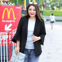 MSSHE加大码女装2017新款胖妹妹秋装显瘦简约西装外套M1710606