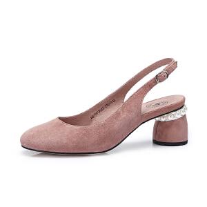 Camel/骆驼女鞋 2018春季新款 甜美高跟鞋女后绊带浅口套脚圆头粗跟单鞋