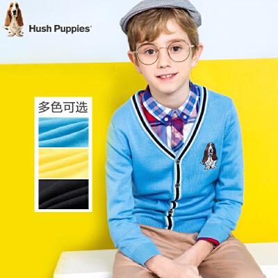 Hush Puppies 暇步士 男童针织衫 纯色V领开衫