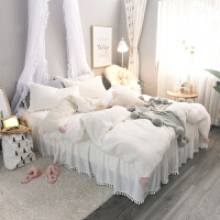 四件套春秋季加厚保暖珊瑚绒法莱绒毛绒床单被套床裙款公主风 白色 绒白色