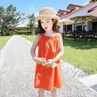 女童沙滩裙海边度假连衣裙新款儿童吊带衫裙子夏季韩版童装中大童78 桔色裙